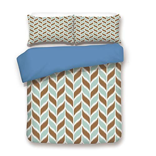 - iPrint Duvet Cover Set,Blue Back,Aqua,Abstract Retro Grunge Vintage Tribal Braid Leaf Like Natural Image,Brown White and Turquoise,Decorative 3 Pcs Bedding Set by 2 Pillow Shams,Twin Size