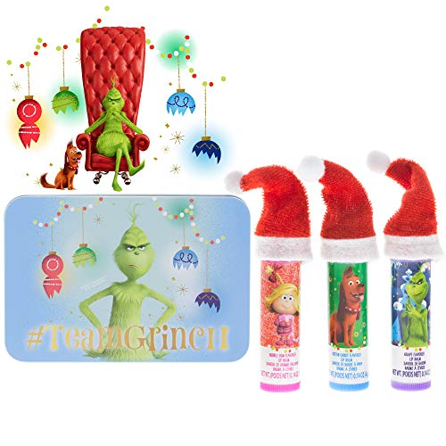 TownleyGirl Dr. Suess' The Grinch, 3 Pack Lip Balm with a water box and a sticker, 5 CT (The Grinch)