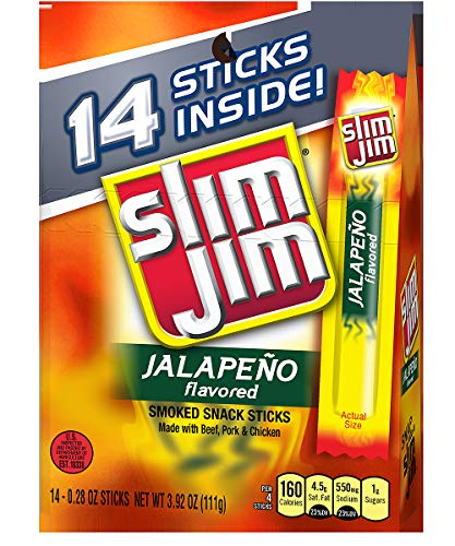 Slim Jim Snack-Sized Smoked Meat Stick, Jalapeño Flavor, 0.28 Oz. 14-Count
