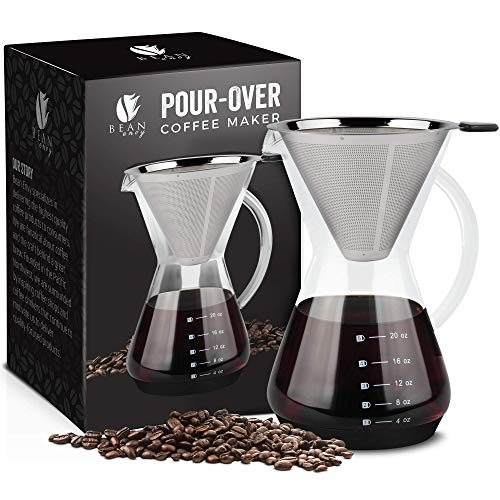 Bean Envy Pour Over Coffee Maker - 20 - oz Borosilicate Glass Carafe - Rust Resistant Stainless Steel Paperless Filter/Dripper - Includes Patent Pending Silicone Sleeve ()
