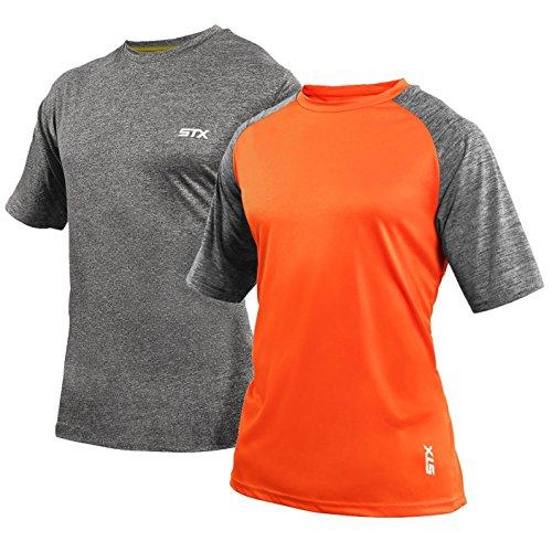 - STX Men's Men's 2 Pack Active Performance Short Sleeve T-Shirt, Orange-Raglan-Txfc, S
