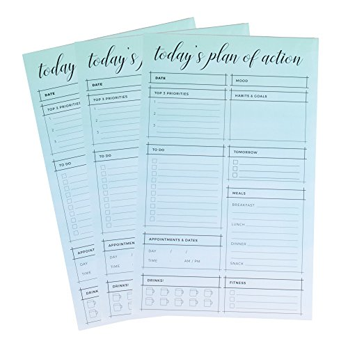 Daily Planner Notepad - 3-Pack Tear-Off Daily Planner Pads, Including To Do Lists, Meal Planning, Priority List, Appointments, 60 Sheets Each, Gradient Watercolor Designs, 6 x 9.5 Inches