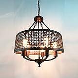 Baiwaiz Industrial Pendant Light Ceiling Metal Cage Lamp Retro Pendant Ceiling Lights Rustic Round Kitchen Island Pendant Light Adjustable Pendant Light Fitting 5 Lights E27 Edison Base Black