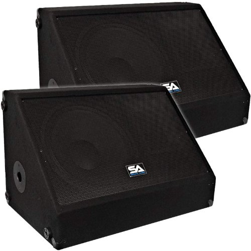 Seismic Audio - Pair of 15'' 700 Watts Floor Monitors Studio, Stage, or Floor use - PA/DJ Speakers by Seismic Audio