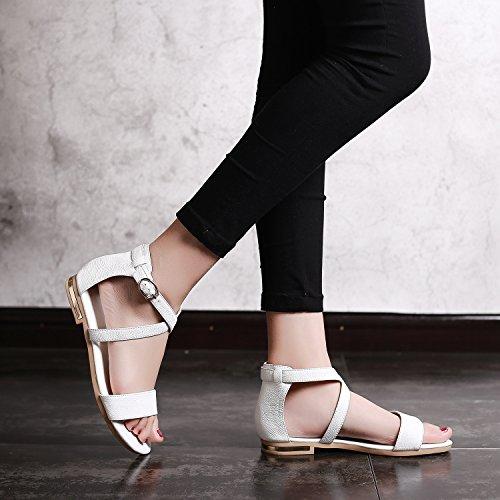 zapatos de la de mujer final white correa de cuero código mujer cruz de de sandalias verano del tamaño El OZxa6qwxt