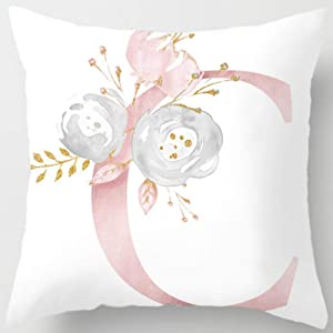Eanpet Throw Pillow Covers Alphabet Decorative Pillow Cases ABC Letter Flowers Cushion Covers 18 x 18 Inch Square Pillow Protectors for Sofa Couch Bedroom Car Chair Home Decor (C)