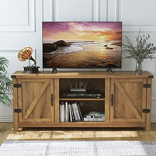 """HOMECHO Wooden TV Stand for TVs up to 65"""", Farmhouse Double Barn Door TV Cabinet with Storage, TV Console with Adjustable Shelves, Entertainment Center for Living Room, Rustic Oak"""