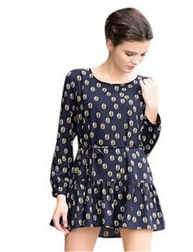 PU&PU Robe Aux femmes Ample Simple,Imprimé Col Arrondi Au dessus du genou Polyester , black-one-size , black-one-size