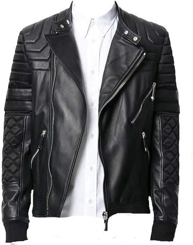 Mens Black Bomber Quilted Fashion Biker Leather Jacket