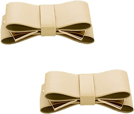 Douqu A Pair Simple Elegant and Retro Style Assorted Color Plain Ribbon Bow Butterfly High Heel Shoe Clips Nude