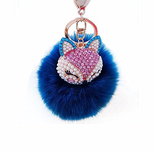 Miraclekoo Fox Fur Key Chain Gold Plated Keychain with Fox Head Inlay Pearl Rhinestone for Car Key Ring or Handbag Bag Decoration (blue)