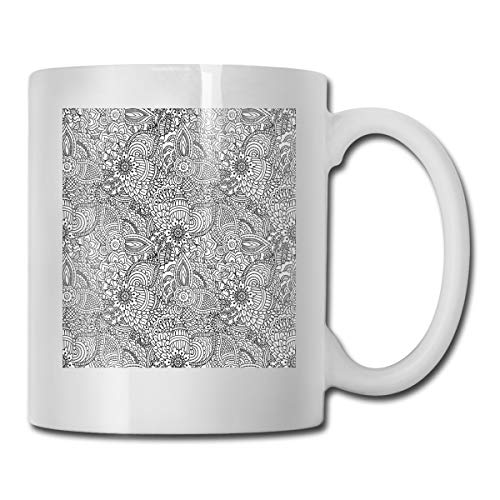 (Funny Ceramic Novelty Coffee Mug 11oz,Monochrome Design Ethnic Cultural Pattern Intricate Mehendi Swirls Asian Leaves,Unisex Who Tea Mugs Coffee Cups,Suitable for Office and Home)