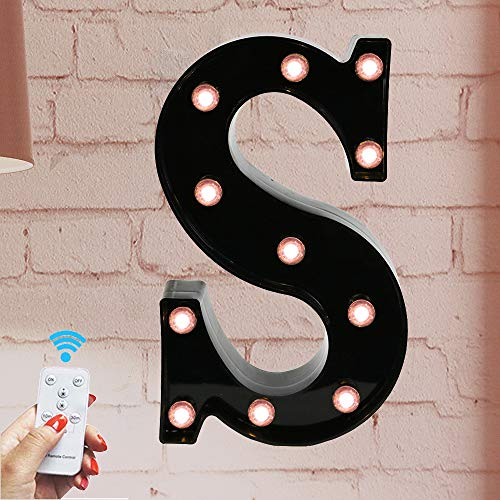 Oycbuzo Marquee Letter Sign Lights - Light Up Black Letters Home Decor Name Signs - Battery Operated LED Remote Timer - Lighted Vintage Accessories & Decorations S (Light Up Letter A Wall Decor)
