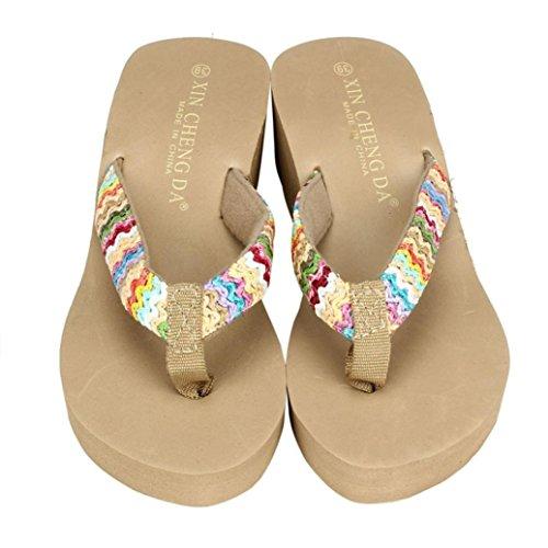 Ouneed® Sommer Plattform Sandelholz Strand Flache Keil Patch Flip Flops Lady Slippers Damen Erwachsene Zehentrenner (37, schwarz)