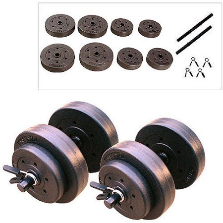 Gold's Gym 40 lbs Vinyl Cement-filled Plates Weightlifting Training Exercise and Fitness Dumbbells