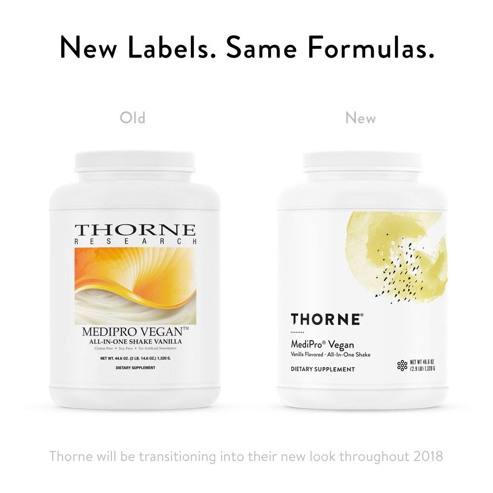 Thorne Research - MediPro Vegan All-in-One Shake - Vegetable-Based Protein Powder - 22 g Protein, 6 g Fiber, Non-GMO Ingredients - Vanilla Flavor - 46.6 oz by Thorne Research (Image #3)