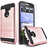 Alcatel Zip LTE Case, Alcatel Kora Case, Circlemalls 2-Piece Style Hybrid Shockproof Hard Case Cover With [Temerped Glass Screen Protector] And Touch Screen Pen (Rose Gold)