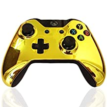 Kobwa Replacement Housing Front Shell Case Cover with Screwdriver Set for Xbox One Controller, Chrome Gold