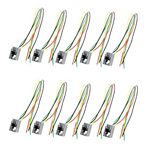 amazon com 10 pcs 616e 4p4c rj9 female telephone connector adapter rh amazon com N Scale Wiring for Telephone Wire Telephone Terminal Block Wiring