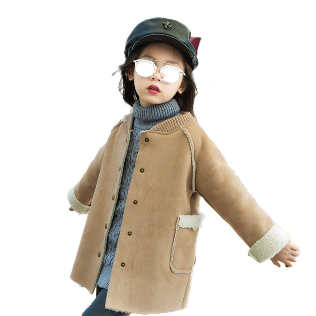 xzbailisha Childrens Girls Suede Cashmere Coat Thickened Long Windbreaker Coat