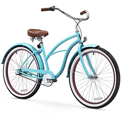 sixthreezero Women's 3-Speed Beach Cruiser Bicycle, Teal Blue w/ Brown Seat/Grips, 26