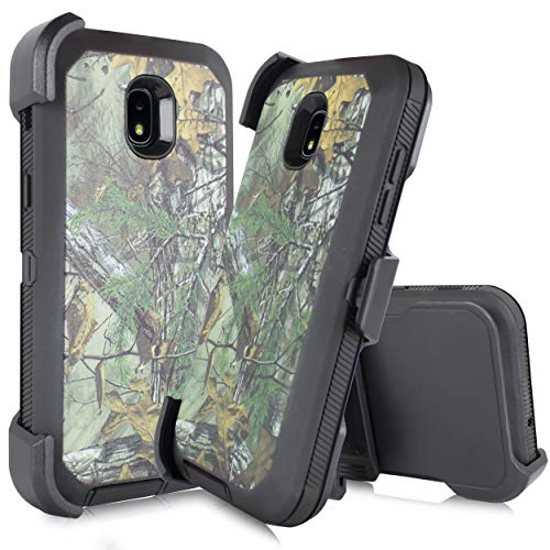 Made for Samsung Galaxy J3 Star 2018, Achieve, J3V 3rd Gen, Express Prime 3, Amp Prime 3 (J337) [Four Layered Protection] Heavy Duty Defender Holster Armor Camo Case W/Built in Screen (Hunter Camo) ()