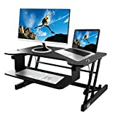 OULII Height Adjustable Standing Desk,Sit Stand Desk 32 x 20.5 '' Height Workstation Fits Dual Monitor with Easy Lift