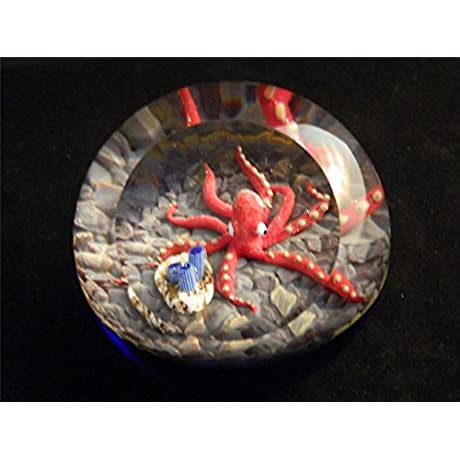Glass Eye Studio Environmental Elusive Legend Red Octopus Paperweight
