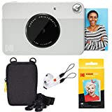 Kodak Printomatic Instant Camera (Grey) Basic Bundle + Zink Paper (20 Sheets) + Deluxe Case + Comfortable Neck Strap