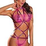 Libermall Sexy Lingerie for Women for Sex Bandage Clubwear Stripper Leather Underwear Bodysuit Babydoll Teddy Sleepwear Purple