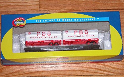 (HO RTR 50' Flat with 2 25' Trailers, M&StL/PBQ #2 ATH96360)