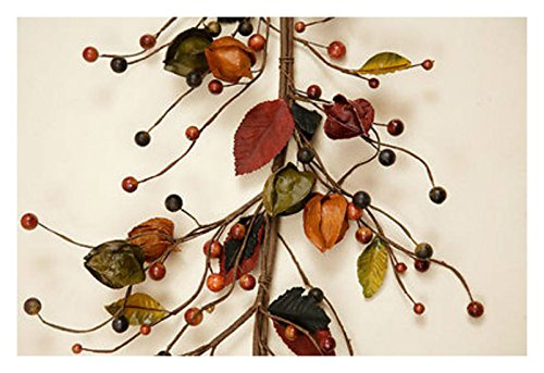 Fall Halloween Pods CHINESE LANTERN & BERRY GARLAND Orange Black Swag - Costumes Halloween Swag