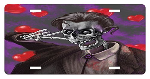 Skull License Plate by Ambesonne, Romantic Skeleton Handsome Corpse Groom with Tuxedo Hearts in the Backdrop Print, High Gloss Aluminum Novelty Plate, 5.88 L X 11.88 W Inches, Black and (Corpse Groom)