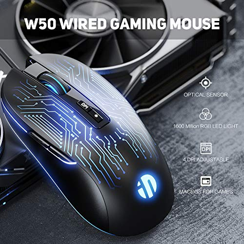 Gaming Mouse, 7 Macro Programmable Buttons, 4800DPI Adjustable, Optical Tracking, Ergonomic Design, RGB Backlight, Inphic Gaming Mice for PC Laptops Gamer, USB 1.5M Wire Compatible with Windows