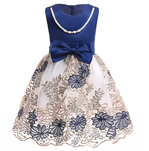 NSSMWTTC Flowers Girls Dresses Kids 2018 Christmas Baby Toddler A Line Lace Embroidery Dress Size 2T (Navy,100)