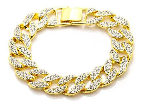 Xusamss Hip Hop Plated 18k Gold Crystal Chain Bangle Link Bracelet,8.0inches]()