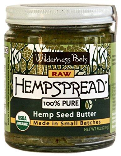 Wilderness Poets 100% Pure Hempspread - Organic Hemp Seed Butter (8 oz Glass Jar)