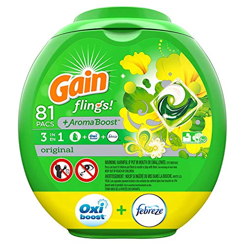 - Gain flings! Liquid Laundry Detergent Pacs, Original, 81 Count - Packaging May Vary