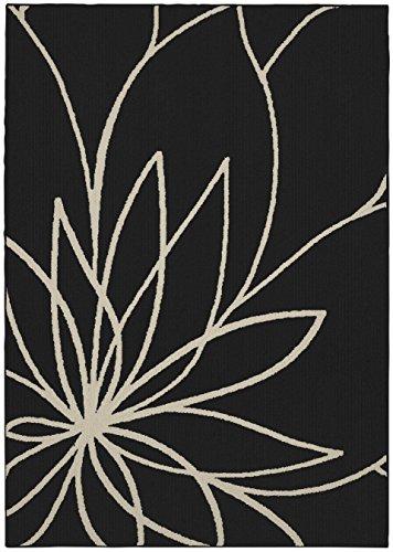 Floral Rug Black - Garland Rug Grand Floral Area Rug, 5 x 7, Black/Ivory