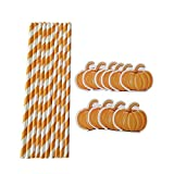 Sikye 10 x Paper Straw Halloween Party Shooting Props with Pumpkin Paper Party Essentials