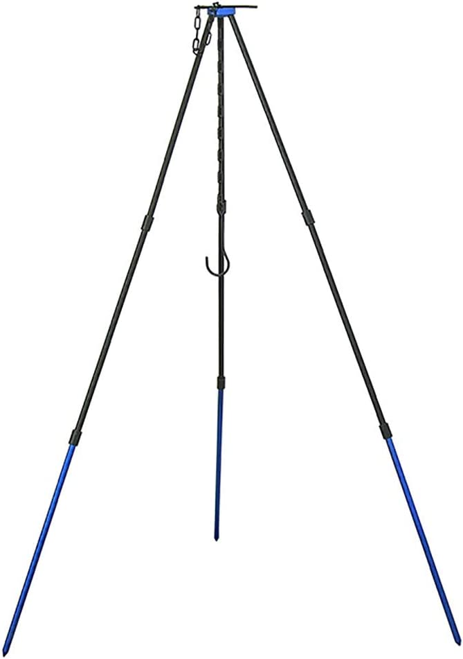 OMUKY Camping Stove Tripod Portable Outdoor Cooking Tripod with Adjustable Hang Chain BBQ Barbecue Picnic (Blue)