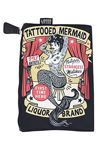 Liquor Brand Cosmetic Bag Tattooed Mermaid Vintage Tattoo Art makeup purse by Liquorbrand