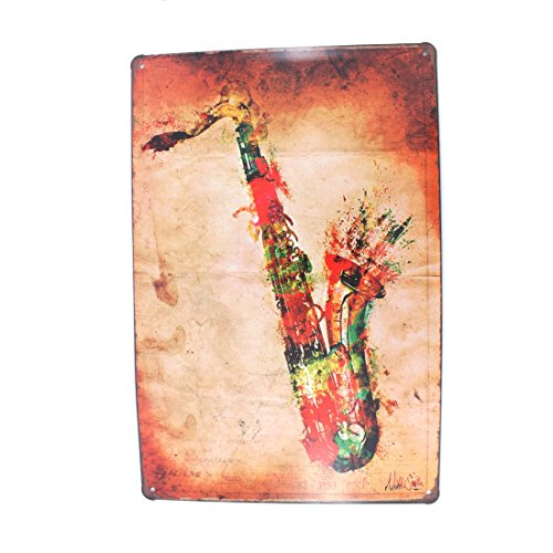 Instrument Family Posters (12x8 Inches Pub,bar,home Wall Decor Souvenir Hanging Metal Tin Sign Plate Plaque (SAX))