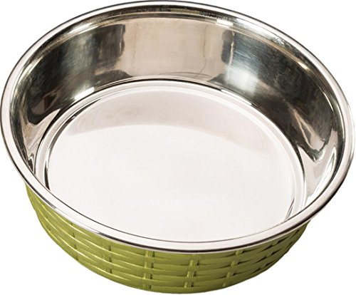 Ethical Pets Soho Basket Weave Stainless Dog Dish, 55 oz, Green ()