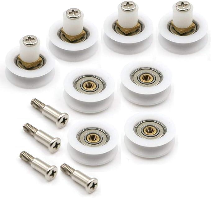 YUANQIAN - 8 rodamientos para mampara de ducha con ranura en V. Pieza de repuesto. YQ-1027: Amazon.es: Bricolaje y herramientas