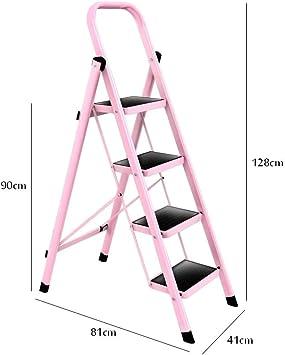 4 Pasos Escalera plegable Altura 128 cm Hierro Rosa ...