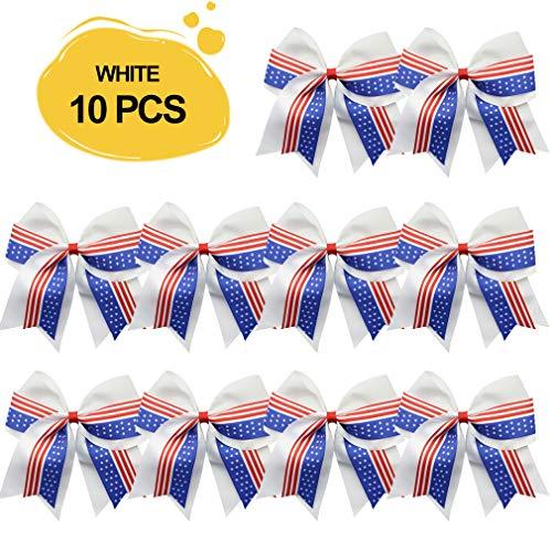 Cheer Bows Bulk Ponytail Holder White Hair Ties Girls Red Large USA 6