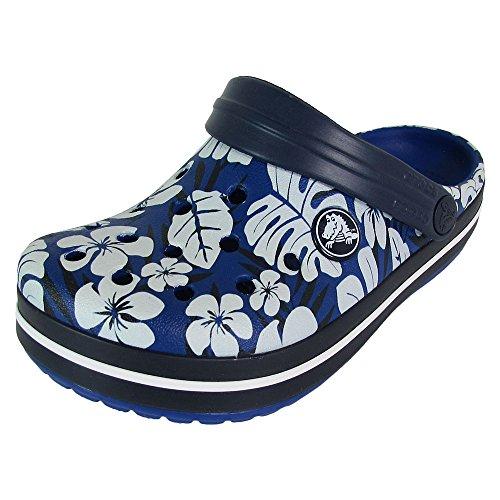 Crocs Crocband Tropical Print Clog, Cerulean Blue/Navy, US 10/11 Little Kid