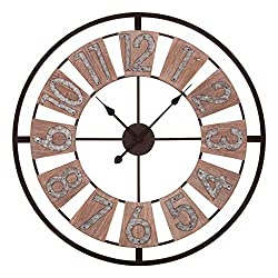 Patton Wall Decor 30 Inch Wood and Galvanized Metal Windmill Cut Wall Clock, Brown