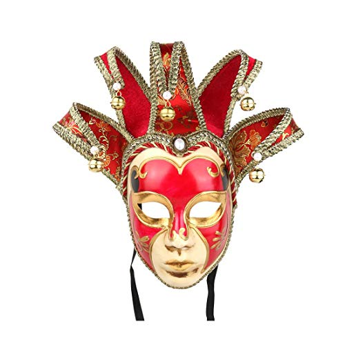 YU FENG Hand Painted Full Face Jester Jolly Joker Venetian Masquerade Wall Mask Carnival Costume Fanshaped Mask Mardi Gras (Red)]()